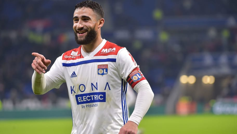 Lyon's French forward Nabil Fekir celebrates after scoring a goal with teammates during the French L1 football match between Lyon (OL) and Monaco (ASM) on December 16, 2018, at the Groupama Stadium in Decines-Charpieu near Lyon, central-eastern France. (Photo by ROMAIN LAFABREGUE / AFP)        (Photo credit should read ROMAIN LAFABREGUE/AFP/Getty Images)