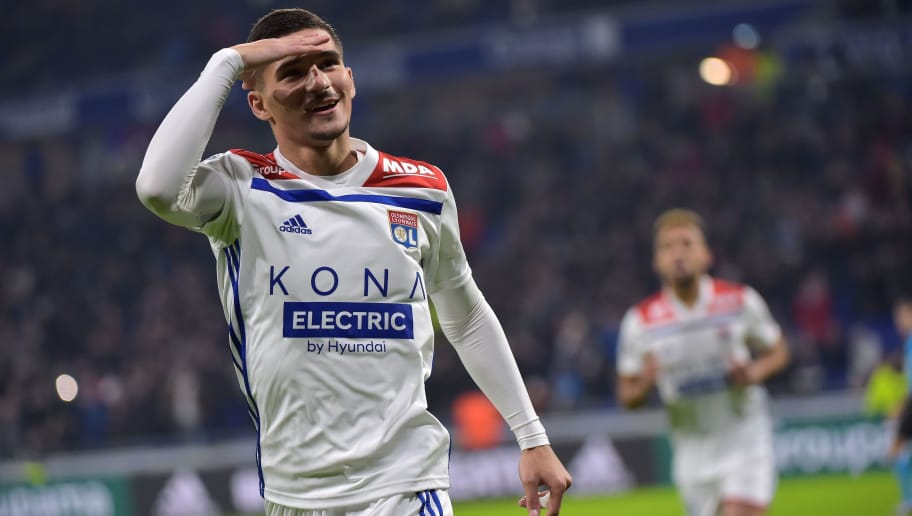 Lyon's French midfielder Houssem Aouar celebrates after scoring a goal during the French L1 football match between Lyon (OL) and Monaco (ASM) on December 16, 2018, at the Groupama Stadium in Decines-Charpieu near Lyon, central-eastern France. (Photo by ROMAIN LAFABREGUE / AFP)        (Photo credit should read ROMAIN LAFABREGUE/AFP/Getty Images)