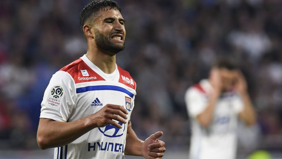 Lyon's French midfielder Nabil Fekir reacts after missing a goal during the French L1 football match between Olympique Lyonnais and OGC Nice, on May 19, 2018, at the Groupama Stadium in Decines-Charpieu near Lyon, central-eastern France. (Photo by PHILIPPE DESMAZES / AFP)        (Photo credit should read PHILIPPE DESMAZES/AFP/Getty Images)