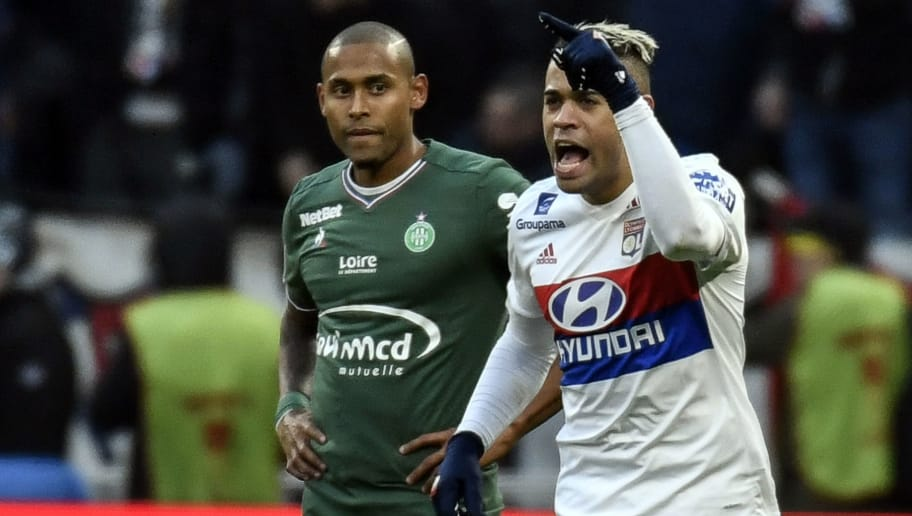 Lyon's Spanish forward Mariano Diaz (R) celebrates after scoring a goal during the French L1 football match Olympique Lyonnais (OL) versus AS Saint-Etienne (ASSE) on February 25, 2018 at the Groupama Stadium in Decines-Charpieu, near Lyon, central-eastern France. / AFP PHOTO / JEFF PACHOUD        (Photo credit should read JEFF PACHOUD/AFP/Getty Images)