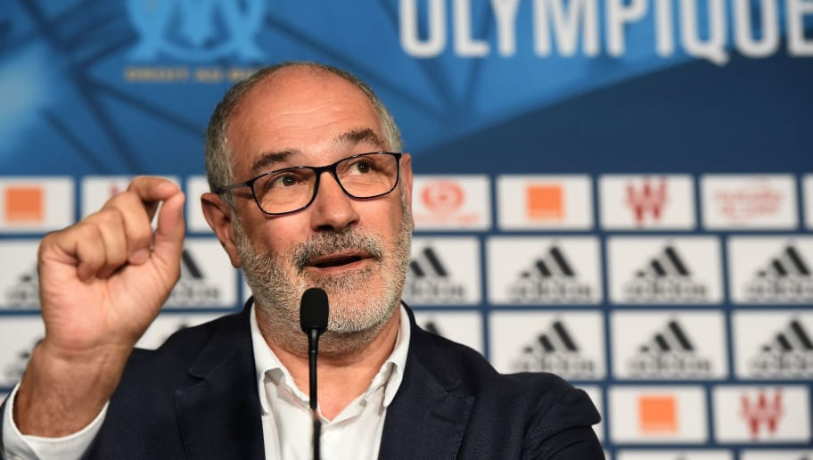 Olympique de Marseille's sportive manager Andoni Zubizarreta  speaks to the press, on August 10, 2017 at the Robert-Louis Dreyfus training centre in Marseille, southern France.   / AFP PHOTO / BORIS HORVAT        (Photo credit should read BORIS HORVAT/AFP/Getty Images)