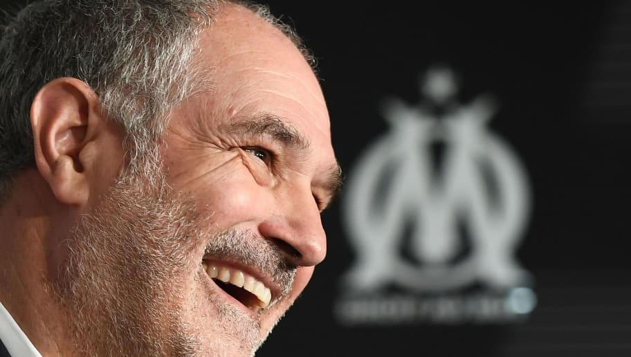 Olympique de Marseille's new Spanish sport director Andoni Zubizarreta smiles during a press conference following his nomination on October 27, 2016 at the Robert Louis-Dreyfus stadium in Marseille. / AFP / BORIS HORVAT        (Photo credit should read BORIS HORVAT/AFP/Getty Images)