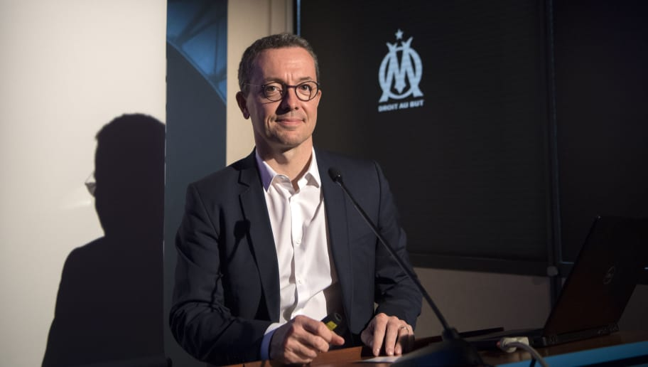 Olympique de Marseille's French president Jacques-Henri Eyraud gives a press conference at the Robert-Louis Dreyfus training centre in Marseille, southern France on May 23, 2018. (Photo by BERTRAND LANGLOIS / AFP)        (Photo credit should read BERTRAND LANGLOIS/AFP/Getty Images)