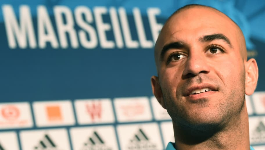 Olympique de Marseille's newly recruited player, Tunisien defender Aymen Abdennour speaks during his official presentation, on August 30, 2017 at the Robert-Louis Dreyfus training centre in Marseille, southern France.  Tunisian international defender Aymen Abdennour has joined Marseille on loan from Valencia, the French club announced on August 29 evening. / AFP PHOTO / BORIS HORVAT        (Photo credit should read BORIS HORVAT/AFP/Getty Images)