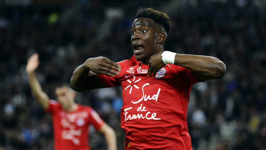 Montpellier's French defender Nordi Mukiele gestures during the French L1 football match between Marseille (OM) and Montpellier (MHSC) on April 8, 2018, at the Velodrome stadium in Marseille, southern France.  / AFP PHOTO / Franck PENNANT        (Photo credit should read FRANCK PENNANT/AFP/Getty Images)