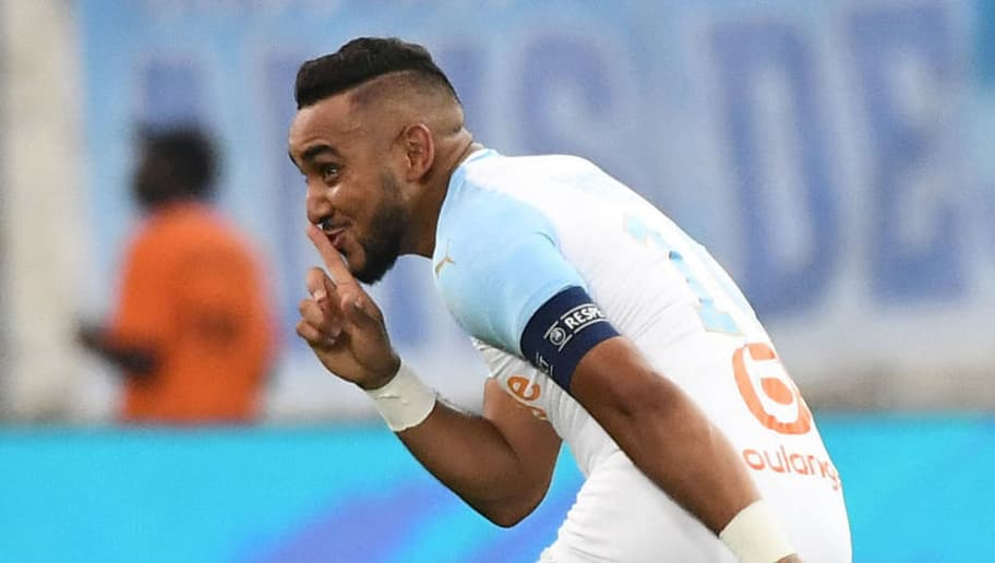 Olympique de Marseille's French forward Dimitri Payet reacts after scoring, during their French L1 football match Olympique of Marseille (OM) versus EA Guingamp at the Velodrome stadium in Marseille on September 16, 2018. (Photo by Boris HORVAT / AFP)        (Photo credit should read BORIS HORVAT/AFP/Getty Images)