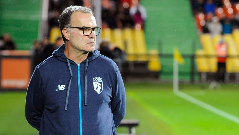 Lille's Argentinian head coach Marcelo Bielsa  is pictured during the French Ligue 1 football match between Metz (FCM) and Lille (LOSC) on November 5, 2017 at Saint Symphorien stadium in Longeville-Les-Metz, eastern France.  / AFP PHOTO / JEAN-CHRISTOPHE VERHAEGEN        (Photo credit should read JEAN-CHRISTOPHE VERHAEGEN/AFP/Getty Images)