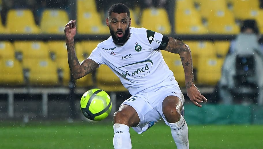 Saint-Etienne's French midfielder Yann M'vila controls the ball during the French L1 football match between Metz (FCM) and Saint-Etienne (ASSE) at the Saint-Symphorien Stadium in Longeville-les-Metz, eastern France, on January 17, 2018. / AFP PHOTO / PATRICK HERTZOG        (Photo credit should read PATRICK HERTZOG/AFP/Getty Images)