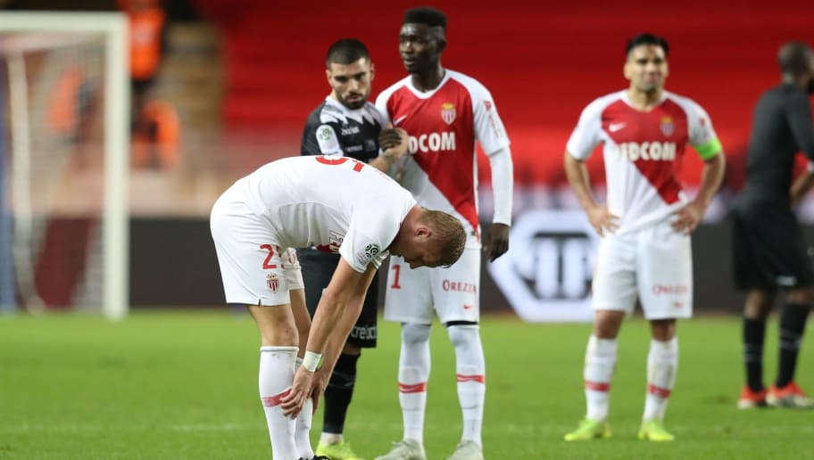 Monaco's Polish defender Kamil Glik reacts at the end during  the French L1 football match Monaco vs Guingamp on December 22, 2018 at the 'Louis II Stadium' in Monaco. (Photo by VALERY HACHE / AFP)        (Photo credit should read VALERY HACHE/AFP/Getty Images)