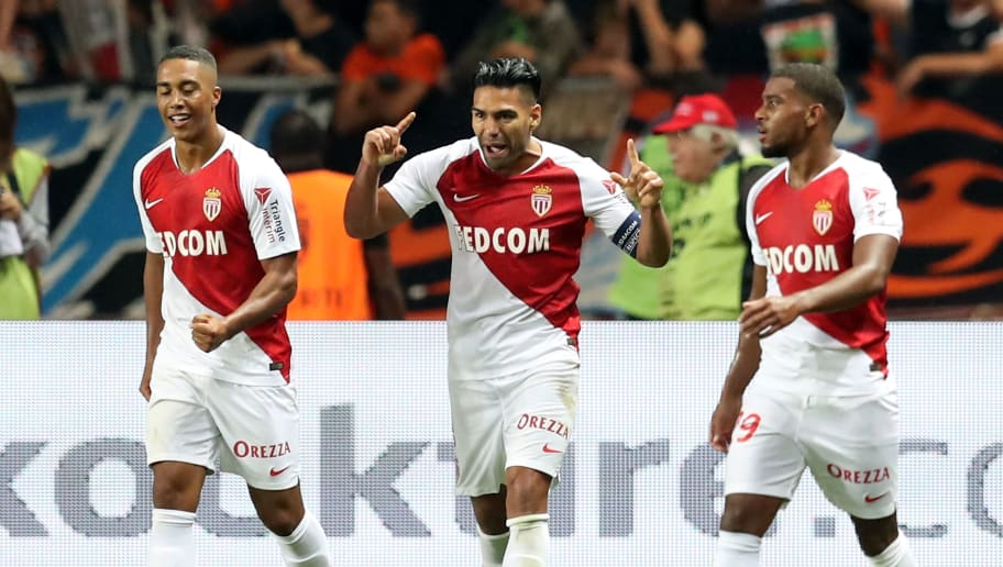 Monaco's Colombian forward Falcao (C) celebrates after scoring a goal during the French L1 football match between AS Monaco (ASM) and Olympique de Marseille (OM), on September 2, 2018 at the Louis II stadium in Monaco. (Photo by Valery HACHE / AFP)        (Photo credit should read VALERY HACHE/AFP/Getty Images)