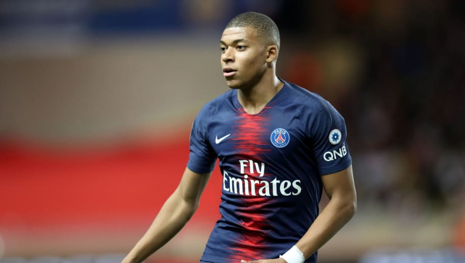 Paris Saint-Germain's French forward Kylian Mbappé is pictured during the French L1 football match Monaco vs Paris Saint-Germain on November 11, 2018 at the 'Louis II Stadium' in Monaco. (Photo by VALERY HACHE / AFP)        (Photo credit should read VALERY HACHE/AFP/Getty Images)