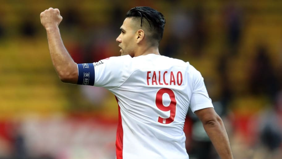 Monaco's Colombian forward Radamel Falcao celebrates after scoring a goal during the French L1 football match between Monaco and Rennes on October 7, 2018 at the Louis II Stadium in Monaco. (Photo by VALERY HACHE / AFP)        (Photo credit should read VALERY HACHE/AFP/Getty Images)