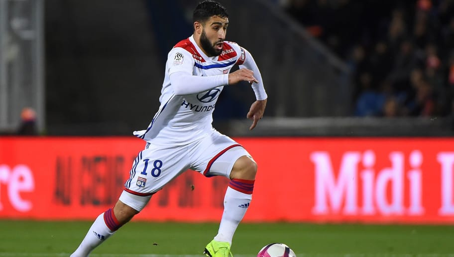 Lyon's French midfielder Nabil Fekir runs with a ball during the French L1 football match between Montpellier and Lyon, on December 22, 2018 at the Mosson Stadium in Montpellier, southern France. (Photo by SYLVAIN THOMAS / AFP)        (Photo credit should read SYLVAIN THOMAS/AFP/Getty Images)