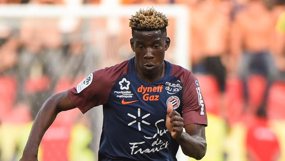 Montpellier's French defender Nordi Mukiele controls the ball during the French Ligue 1 football match between Paris Saint-Germain (PSG) and Montpellier on September 23, 2017 at the Stade de la Mosson stadium in Montpellier, southern France. / AFP PHOTO / Sylvain THOMAS        (Photo credit should read SYLVAIN THOMAS/AFP/Getty Images)
