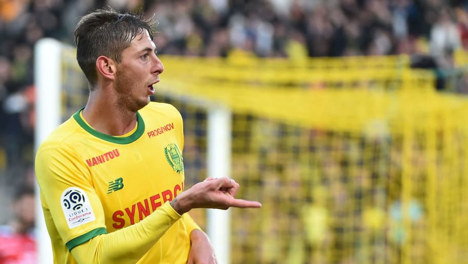 Nantes' Argentinian forward Emiliano Sala celebrates after scoring a goal during the French L1 football match between Nantes (FC) and Guingamp (EAG), on November 4, 2018, at the La Beaujoire stadium in Nantes, western France. (Photo by JEAN-FRANCOIS MONIER / AFP)        (Photo credit should read JEAN-FRANCOIS MONIER/AFP/Getty Images)