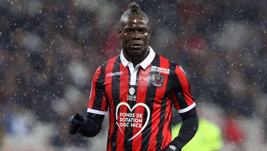 Nice's Italian forward Mario Balotelli reacts during the French L1 football match between Nice and Lille at The 'Allianz Riviera' Stadium in Nice, south-eastern France on November 25, 2018. (Photo by VALERY HACHE / AFP)        (Photo credit should read VALERY HACHE/AFP/Getty Images)
