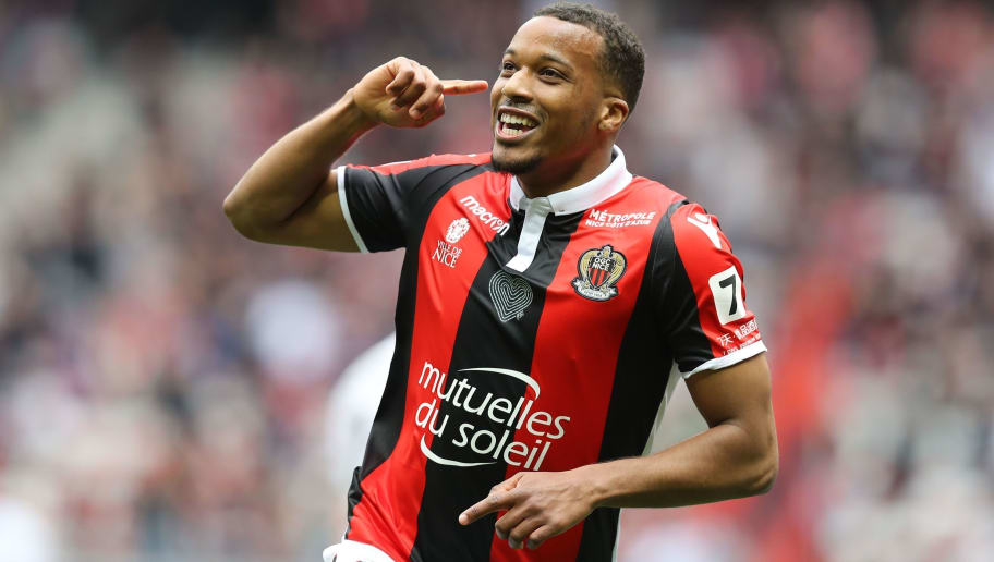 Nice's French forward Alassane Plea celebrates after scoring a goal during the French L1 football match Nice versus Rennes on April 8, 2018 at the Allianz Riviera Stadium in Nice, southeastern France.   / AFP PHOTO / VALERY HACHE        (Photo credit should read VALERY HACHE/AFP/Getty Images)