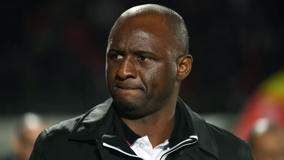 Nice's French head coach Patrick Vieira reacts during the French L1 football match between Nîmes and Nice, on November 10, 2018 at the Costières stadium in Nîmes, southern France. (Photo by PASCAL GUYOT / AFP)        (Photo credit should read PASCAL GUYOT/AFP/Getty Images)