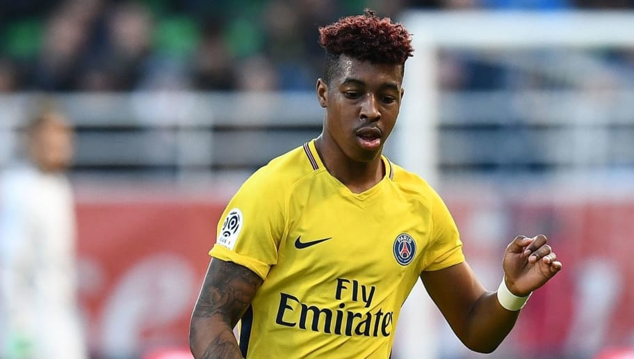 Paris Saint-Germain's French defender Presnel Kimpembe plays the ball during the French L1 football match between Troyes and Paris Saint-Germain at the Aube Stadium in Troyes on March 3, 2018.   / AFP PHOTO / FRANCK FIFE        (Photo credit should read FRANCK FIFE/AFP/Getty Images)