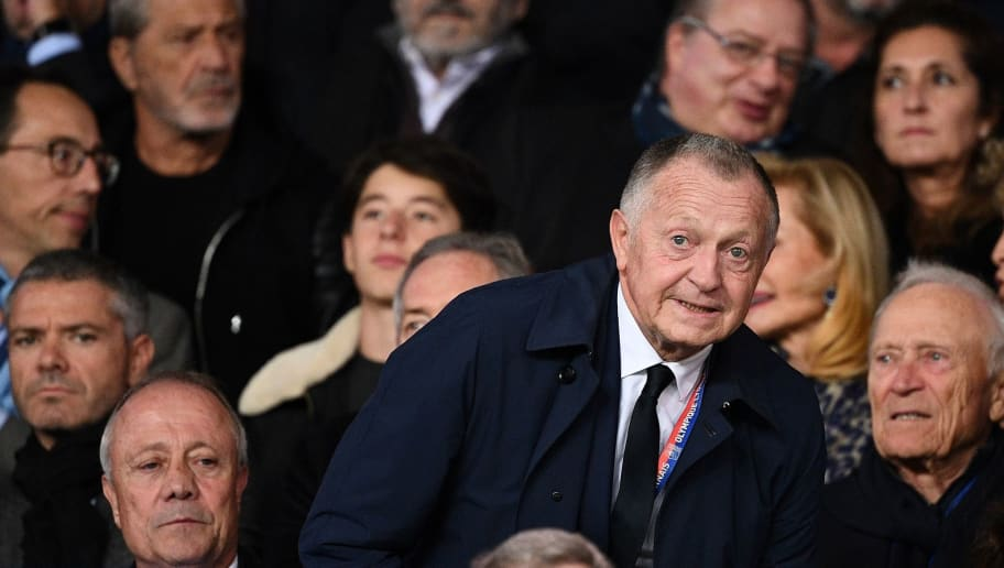 Lyon's French President Jean-Michel Aulas reacts during the French L1 football match between Paris Saint-Germain (PSG) and Olympique de Lyon (OL) on October 7, 2018 at the Parc des Princes stadium in Paris. (Photo by FRANCK FIFE / AFP)        (Photo credit should read FRANCK FIFE/AFP/Getty Images)