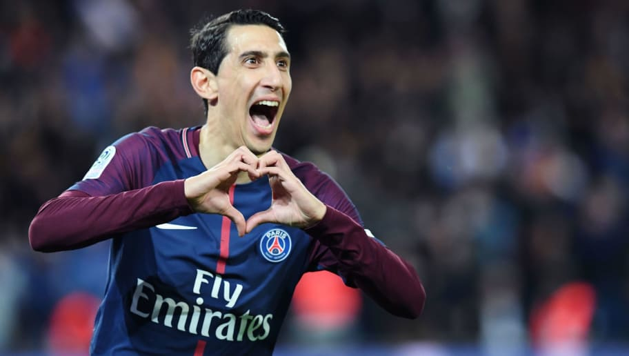 Paris Saint-Germain's Argentinian forward Angel Di Maria celebrates after scoring a goal during the French L1 football match between Paris Saint-Germain (PSG) and Monaco (ASM) on April 15, 2018, at the Parc des Princes stadium in Paris. / AFP PHOTO / CHRISTOPHE ARCHAMBAULT        (Photo credit should read CHRISTOPHE ARCHAMBAULT/AFP/Getty Images)