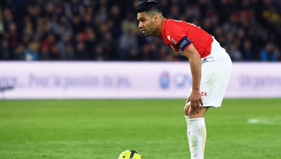Monaco's Colombian forward Radamel Falcao reacts  during the French L1 football match between Paris Saint-Germain (PSG) and Monaco (ASM) on April 15, 2018, at the Parc des Princes stadium in Paris. / AFP PHOTO / CHRISTOPHE ARCHAMBAULT        (Photo credit should read CHRISTOPHE ARCHAMBAULT/AFP/Getty Images)
