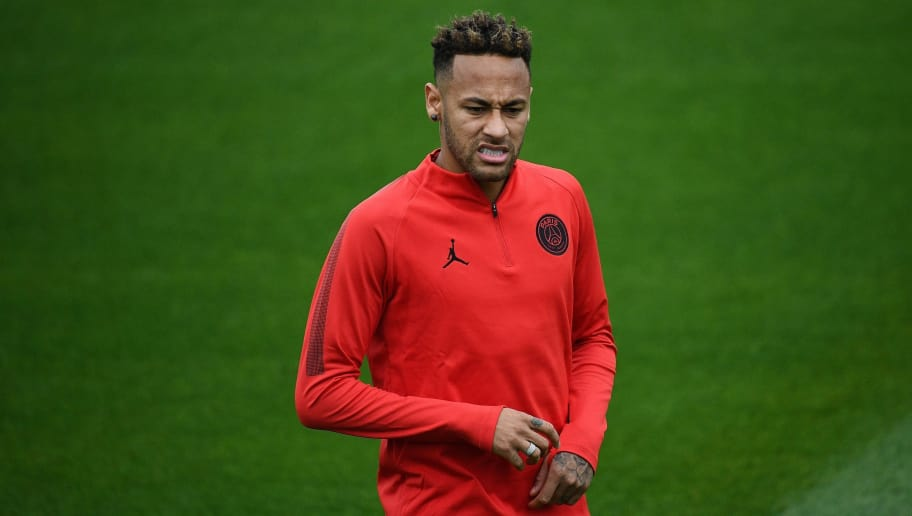 Paris Saint-Germain's Brazilian forward Neymar grimaces during a training session at Saint-Germain-en-Laye, western Paris on September 13, 2018 on the eve of the French L1 football match between Paris Saint-Germain and Saint Etienne. (Photo by FRANCK FIFE / AFP)        (Photo credit should read FRANCK FIFE/AFP/Getty Images)