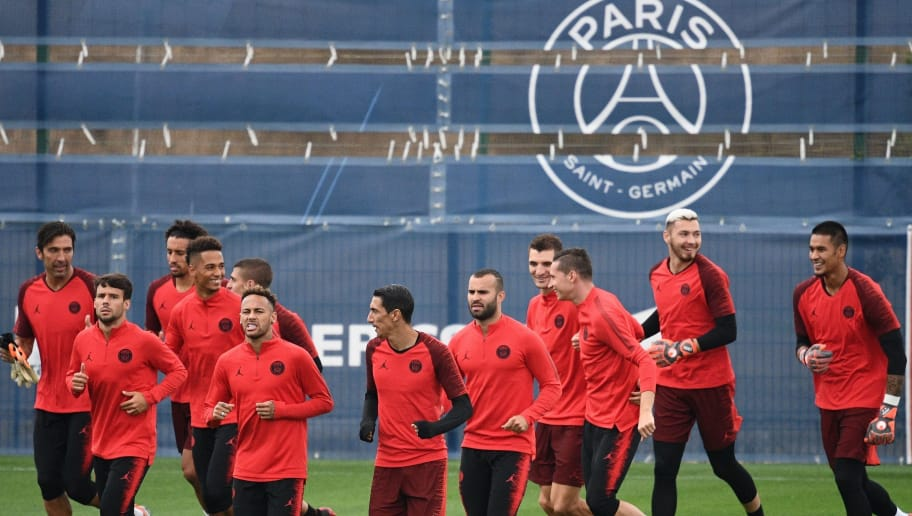 Paris Saint-Germain's players run during  a training session at the team's 'Camp des Loges' training grounds in Saint-Germain-en-Laye, west of Paris, on September 13, 2018, on the eve of the French L1 football match between Paris Saint-Germain (PSG) and Saint-Etienne (ASSE). (Photo by FRANCK FIFE / AFP)        (Photo credit should read FRANCK FIFE/AFP/Getty Images)