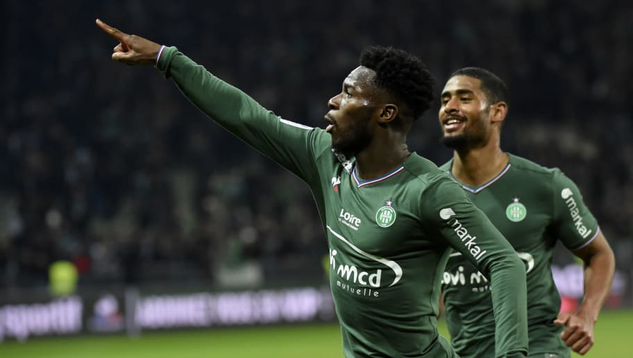 Saint-Etienne's French forward Jonathan Bamba celebrates after scoring a goal during the French L1 football match Saint-Etienne (ASSE) vs Caen (SMC) on January 27, 2018, at the Geoffroy Guichard Stadium in Saint-Etienne, central France.  / AFP PHOTO / JEAN-PHILIPPE KSIAZEK        (Photo credit should read JEAN-PHILIPPE KSIAZEK/AFP/Getty Images)