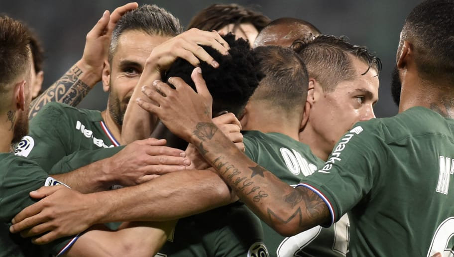 Saint-Etienne's players celebrates after scoring a goal during the French L1 football match Saint-Etienne (ASSE) vs Lille (LOSC) on May 19, 2018, at the Geoffroy Guichard Stadium in Saint-Etienne, central France. (Photo by JEAN-PHILIPPE KSIAZEK / AFP)        (Photo credit should read JEAN-PHILIPPE KSIAZEK/AFP/Getty Images)