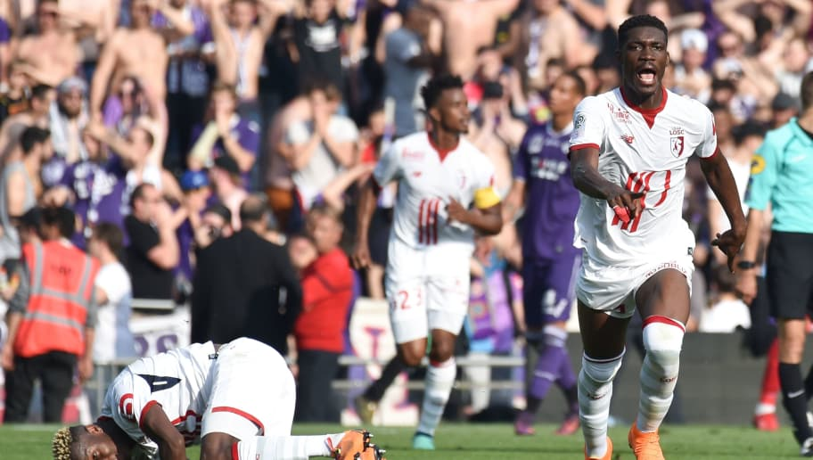 Lille's Malian forward Yves Bissouma celebrates after scoring a goal during the French L1 football match Toulouse against Lille on May 6, 2018 at the Municipal Stadium in Toulouse, southern France. (Photo by PASCAL PAVANI / AFP)        (Photo credit should read PASCAL PAVANI/AFP/Getty Images)