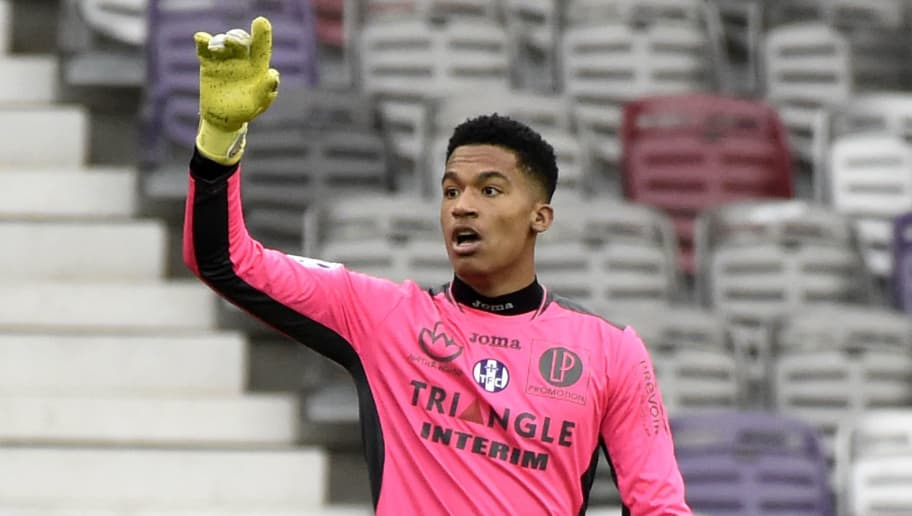 Toulouse's French goalkeeper Alban Lafont gestures during the French L1 football match between Toulouse (TFC) and Lille (LOSC) on March 5, 2017, at the Municipal Stadium in Toulouse, southern France. / AFP PHOTO / PASCAL PAVANI        (Photo credit should read PASCAL PAVANI/AFP/Getty Images)