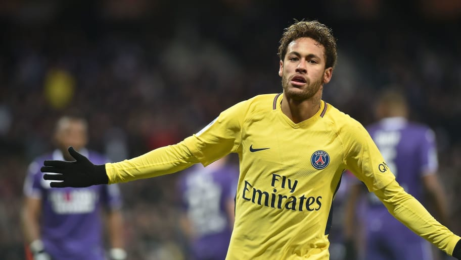Paris Saint-Germain's Brazilian forward Neymar Jr celebrates opening the scoring during the French L1 football match between Toulouse (TFC) and Paris Saint-Germain (PSG) on February 10, 2018 at the Municipal stadium in Toulouse.  / AFP PHOTO / REMY GABALDA        (Photo credit should read REMY GABALDA/AFP/Getty Images)