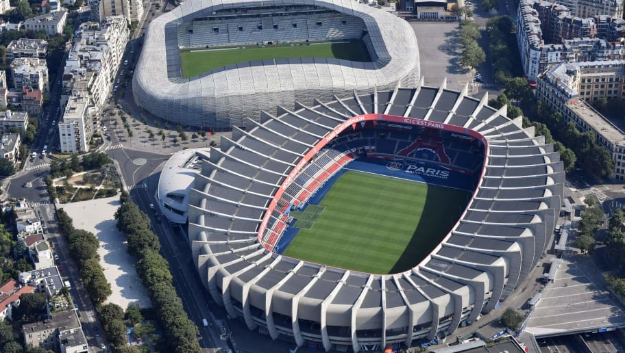 Aerial view of the Jean Bouin stadium (up) and the Parc des Princes stadium in Paris on July 14, 2018. (Photo by GERARD JULIEN / AFP)        (Photo credit should read GERARD JULIEN/AFP/Getty Images)