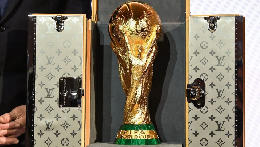 A picture taken shows the official case which will be used to carry the FIFA Russia 2018 World Cup trophy during its presentation at the Louis Vuitton headquarters in Asnières-sur-Seine on May 17, 2018 (Photo by BERTRAND GUAY / AFP)        (Photo credit should read BERTRAND GUAY/AFP/Getty Images)