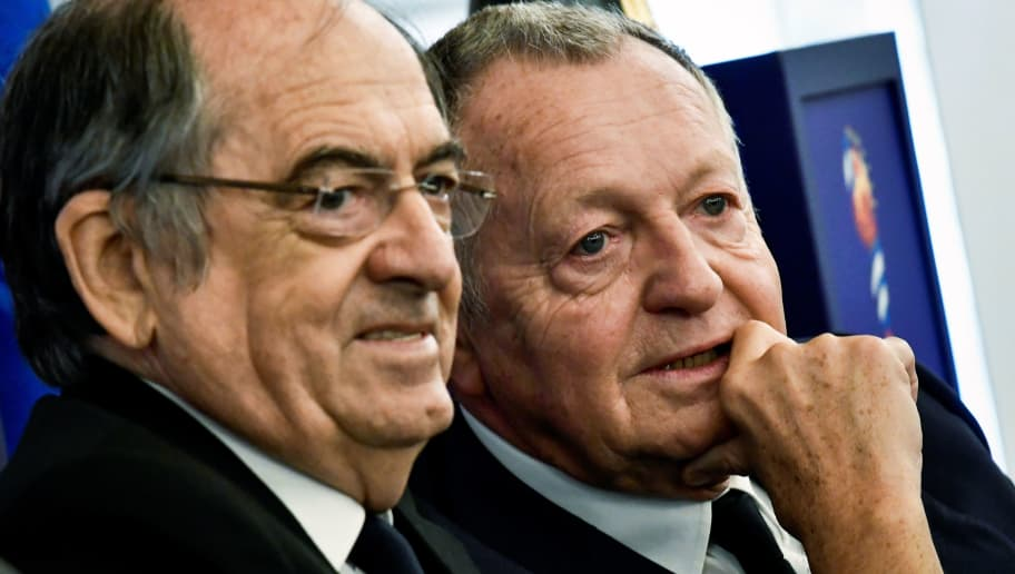 FFF French president Noel Le Graet (L) and Olympique Lyonnais president Jean-Michel Aulas (R) attend a press conference to present the FIFA Women's World Cup France 2019, at the town hall of Lyon, on October 12, 2017. / AFP PHOTO / JEFF PACHOUD        (Photo credit should read JEFF PACHOUD/AFP/Getty Images)