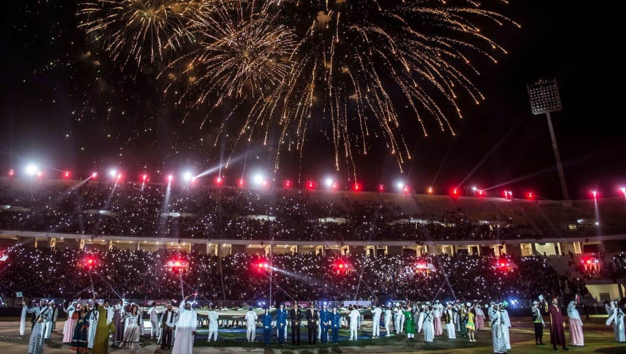 Fireworks light the sky prior to the friendly football match between Egypts Al-Ahly and Spains Atletico Madrid at Borg al-Arab Stadium, near the Egyptian city of Alexandria, on December 30, 2017. A gunman opened fire on a church south of Cairo the previous day, killing at least nine people in the latest apparent jihadist attack on Egypt's Christian minority. / AFP PHOTO / KHALED DESOUKI        (Photo credit should read KHALED DESOUKI/AFP/Getty Images)