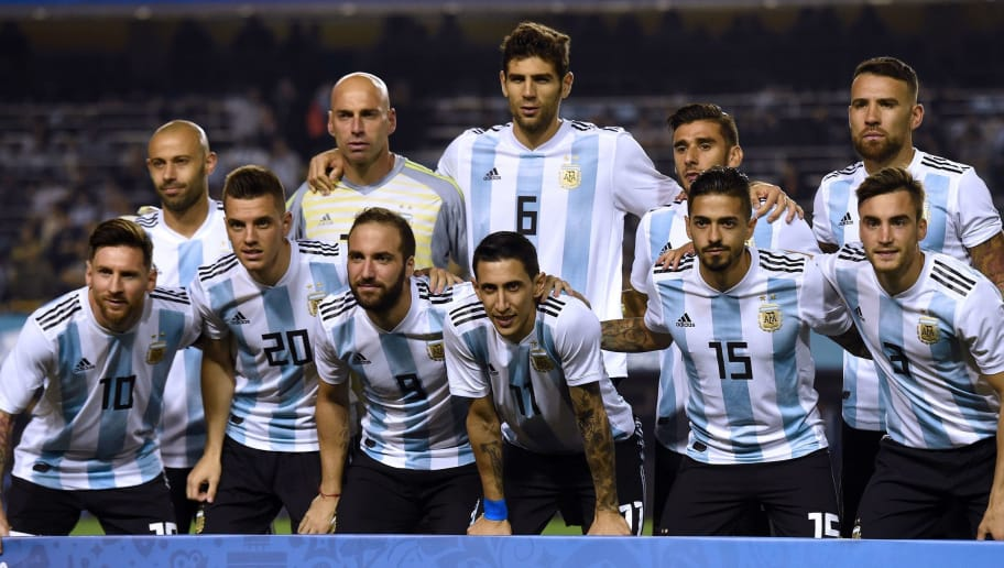 The Argentine national football team poses for pictures before the start of the international friendly football match against Haiti at Boca Juniors' stadium La Bombonera in Buenos Aires, on May 29, 2018, (first row L-R) Lionel Messi, Giovani Lo Celso, Gonzalo Higuain, Angel Di Maria, Manuel Lanzini and Nicolas Tagliafico and (back row, L-R) Javier Mascherano, Wilfredo Caballero, Federico Fazio, Eduardo Salvio and Nicolas Otamendi. (Photo by Eitan ABRAMOVICH / AFP)        (Photo credit should read EITAN ABRAMOVICH/AFP/Getty Images)