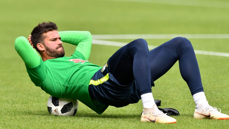 Brazil's goalkeeper Alisson Ramses Becker attends Brazil's training session at Ernst Happel stadium in Vienna, Austria, on June 9, 2018, on the eve of their friendly football match against Austria. (Photo by JOE KLAMAR / AFP)        (Photo credit should read JOE KLAMAR/AFP/Getty Images)