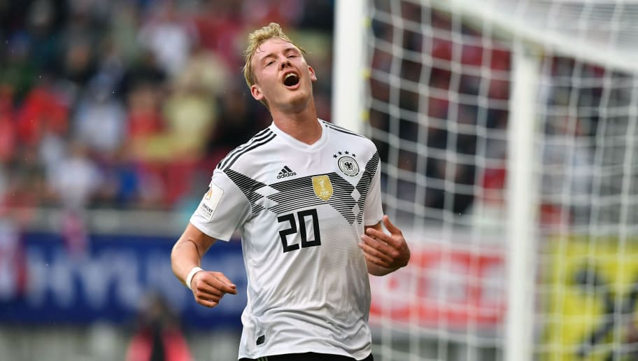 Germany's midfielder Julian Brandt reacts after missing an attempt on goal during the international friendly footbal match Austria v Germany in Klagenfurt, Austria, on June 2, 2018. (Photo by JOE KLAMAR / AFP)        (Photo credit should read JOE KLAMAR/AFP/Getty Images)