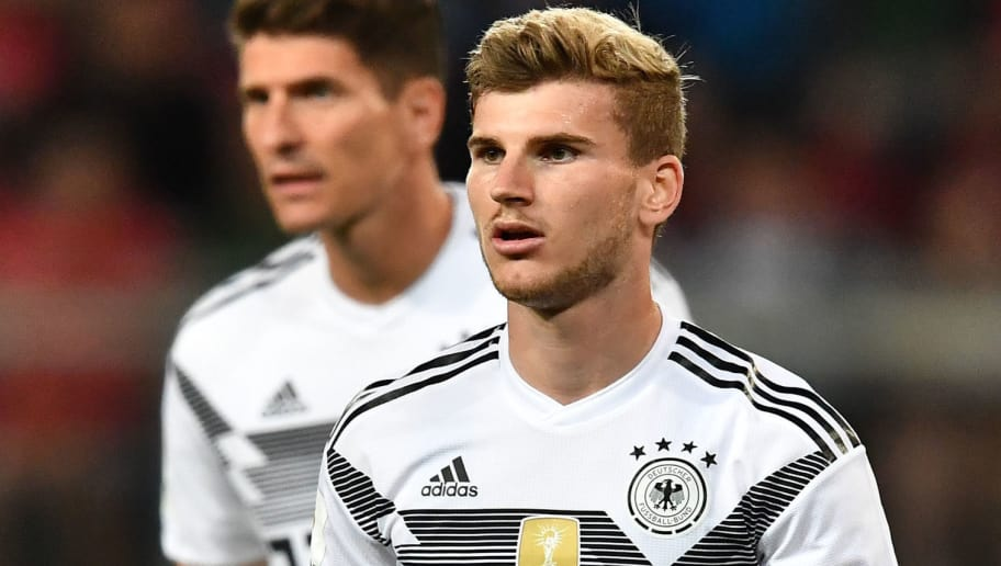Germany's Timo Werner reacts during the international friendly footbal match Austria versus Germany in Klagenfurt, Austria, on June 2, 2018. (Photo by JOE KLAMAR / AFP)        (Photo credit should read JOE KLAMAR/AFP/Getty Images)