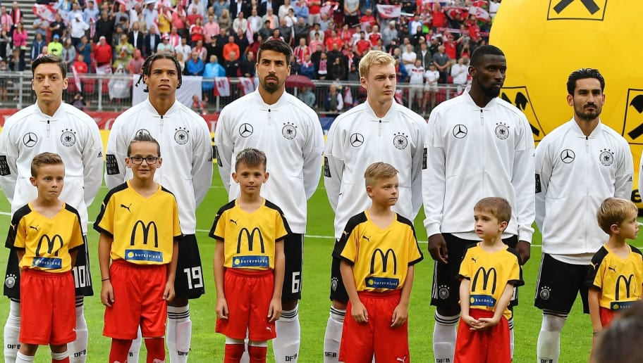 German players listen to the national anthem before the international friendly footbal match Austria versus Germany in Klagenfurt, Austria, on June 2, 2018. (Photo by JOE KLAMAR / AFP)        (Photo credit should read JOE KLAMAR/AFP/Getty Images)