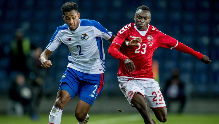 Panama's Michael Murillo (L) and Denmark's Pione Sisto vie for the ball during the friendly football match Denmark vs Panama at Broendby stadium in Copenhagen, on March 22, 2018  / AFP PHOTO / Ritzau Scanpix AND Scanpix / Mads Claus Rasmussen / Denmark OUT        (Photo credit should read MADS CLAUS RASMUSSEN/AFP/Getty Images)