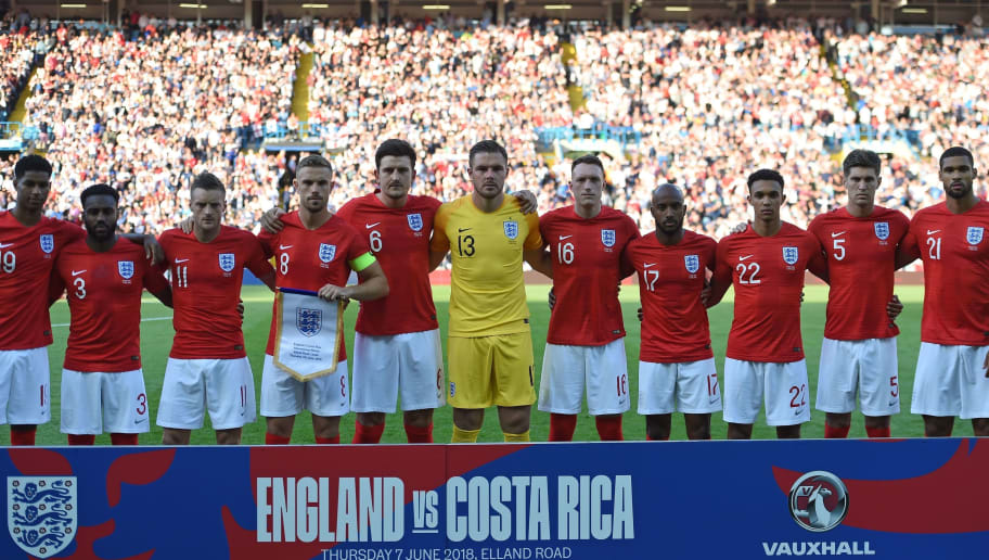 England's players (L-R) England's striker Marcus Rashford, England's defender Danny Rose, England's striker Jamie Vardy, England's midfielder Jordan Henderson, England's defender Harry Maguire, England's goalkeeper Jack Butland, England's defender Phil Jones, England's midfielder Fabian Delph, England's defender Trent Alexander-Arnold, England's defender John Stones and England's midfielder Ruben Loftus-Cheek line up for a photograph ahead of the International friendly football match between England and Costa Rica at Elland Road, Leeds in northern England on June 7, 2018. - England won the game 2-0. (Photo by Paul ELLIS / AFP)        (Photo credit should read PAUL ELLIS/AFP/Getty Images)