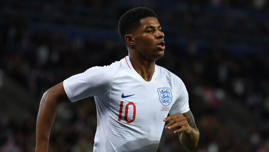 England's striker Marcus Rashford celebrates after scoring during a friendly international football match between England and Switzerland at the King Power stadium in Leicester on September 11, 2018. (Photo by Paul ELLIS / AFP)        (Photo credit should read PAUL ELLIS/AFP/Getty Images)