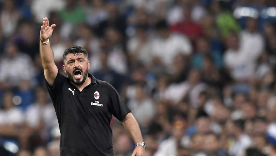 AC Milan's Italian coach Gennaro Gattuso reacts during the Santiago Bernabeu Trophy football match between Real Madrid and AC Milan in Madrid on August 11, 2018. (Photo by GABRIEL BOUYS / AFP)        (Photo credit should read GABRIEL BOUYS/AFP/Getty Images)
