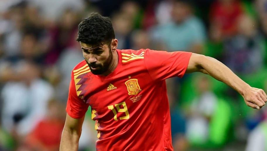 Spain's forward Diego Costa kicks the ball during the friendly football match between Spain and Tunisia at Krasnodar's stadium on June 9, 2018. (Photo by PIERRE-PHILIPPE MARCOU / AFP)        (Photo credit should read PIERRE-PHILIPPE MARCOU/AFP/Getty Images)