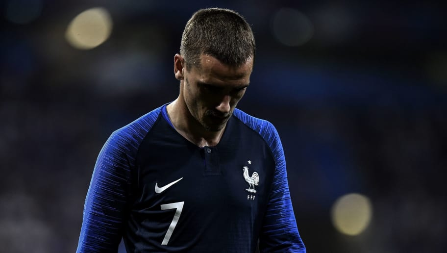 France's forward Antoine Griezmann is substituted during the friendly football match between France and USA at the at the Parc Olympique lyonnais stadium in Decines-Charpieu, near Lyon on June 9, 2018. (Photo by JEFF PACHOUD / AFP)        (Photo credit should read JEFF PACHOUD/AFP/Getty Images)