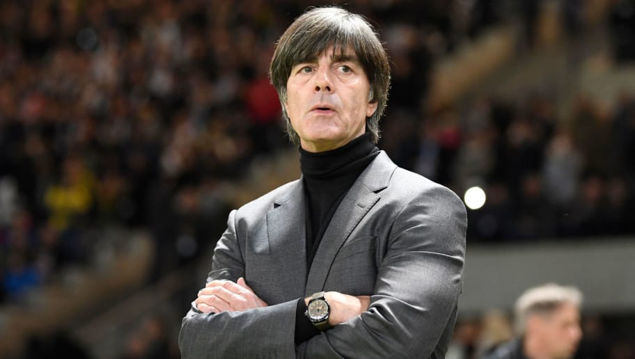 Germany's head coach Joachim Loew looks on ahead of the international friendly football match between Germany and Brazil in Berlin, on March 27, 2018. / AFP PHOTO / ROBERT MICHAEL        (Photo credit should read ROBERT MICHAEL/AFP/Getty Images)