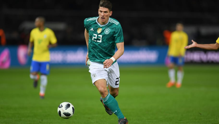 Germany's midfielder Mario Gomez plays the ball during the international friendly football match between Germany and Brazil in Berlin, on March 27, 2018. / AFP PHOTO / Patrik STOLLARZ        (Photo credit should read PATRIK STOLLARZ/AFP/Getty Images)
